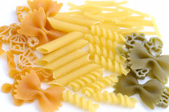 Pasta. Assorted pasta still life over white background Royalty Free Stock Image