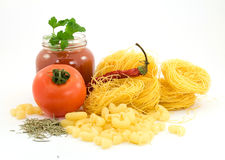 Pasta. And vegetables studio isolated Royalty Free Stock Image