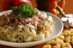 Pasta. Ziti pasta with ham and cheese Stock Images