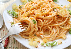 Pasta. Italian spagetti all arrabbiata with a lot of chilis Royalty Free Stock Photos