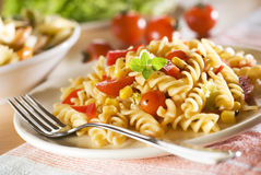 Pasta. Fresh pasta with tomato sauce close up Royalty Free Stock Photos