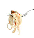 Pasta. Macaroni with tomato sauce on a plug Stock Image