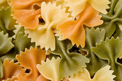 Pasta. Italian raw pasta of colors in a plate Stock Image