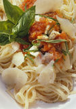 Pasta. Beancurd with ribbon pasta and herbs Stock Photo