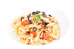 Pasta aglio olio in a white pasta plate Royalty Free Stock Photography