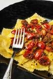 Pasta Agnolotti Stuffed Meat Tomato Pachino royalty free stock photo