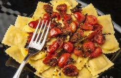 Pasta Agnolotti Stuffed Meat Tomato Pachino stock photo