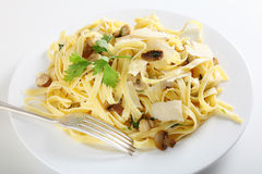 Pasta ai funghi with fork Stock Photography