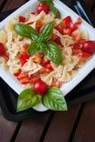 Pasta al pomodoro. Dish of pasta with tomatoes and basil Royalty Free Stock Photo