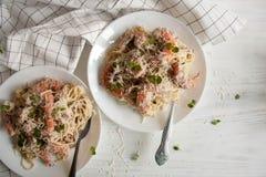 Pasta Alfredo con i gamberi Fotografie Stock