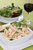 Pasta Alfredo with shrimps Royalty Free Stock Photos