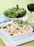 Pasta Alfredo with shrimps Stock Photography