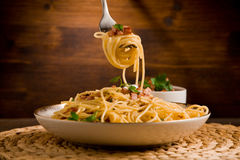Pasta alla carbonara Stock Images