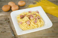Pasta alla carbonara Royalty Free Stock Photos