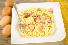 Pasta alla carbonara Royalty Free Stock Photo