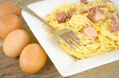 Pasta alla carbonara Stock Photo