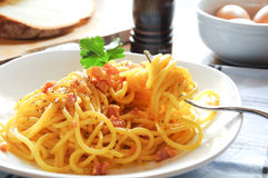 Pasta alla carbonara italia bacon cheese Royalty Free Stock Photo