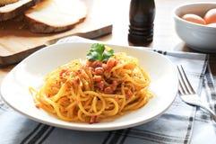 Pasta alla carbonara italia bacon eggs Royalty Free Stock Images