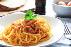 Pasta alla carbonara italia bacon eggs Royalty Free Stock Images
