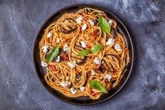 Pasta alla Norma - traditional Italian food stock photos