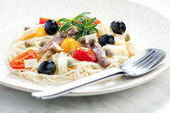 Pasta with anchovies stock photos