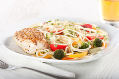 Pasta And Chicken Breast Royalty Free Stock Photo