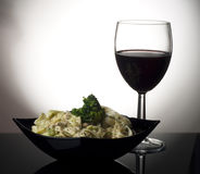 Pasta And Glass Of Wine Royalty Free Stock Image