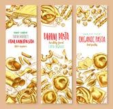 Pasta And Italian Macaroni Vector Banners Set Stock Photo