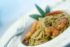 Pasta And Prawns Series Royalty Free Stock Photos
