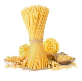 Pasta And Wooden Spoon On White Stock Image