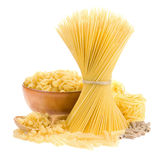 Pasta And Wooden Spoon On White Stock Photos