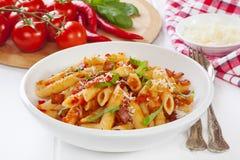 Pasta Arabbiata in a Bowl royalty free stock images