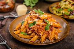 Pasta arrabiata delicious Stock Images