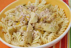 Pasta with Artichoke Stock Images