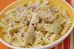 Pasta with Artichoke. Delicious pasta with artichoke and tuna Stock Images