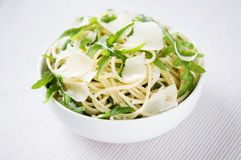 Pasta with arugula and parmesan Royalty Free Stock Photo