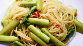 Pasta with asparagus  Stock Images