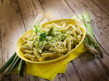 Pasta with asparagus  and leek Royalty Free Stock Images