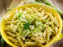 Pasta with asparagus  and leek Stock Photos