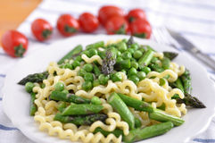 Pasta with asparagus Stock Photos