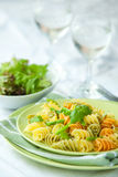 Pasta with asparagus and rocket pesto Royalty Free Stock Photo