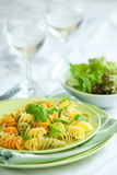 Pasta with asparagus and rocket pesto Royalty Free Stock Image