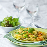Pasta with asparagus, rocket pesto and basil Stock Photography