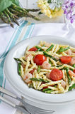 Pasta with asparagus and shrimp. Italian cuisine. Royalty Free Stock Photography