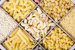 Pasta assortment of different colors background Royalty Free Stock Photography