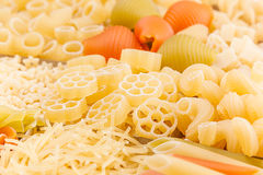 Pasta background assortment of different kinds italian macaroni closeup. Healthy traditional food backdrop Royalty Free Stock Photography