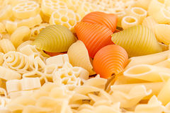 Pasta background assortment of different kinds italian macaroni closeup. Healthy traditional food backdrop Stock Image