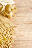 Pasta background. Mix of dry pasta. Copy space bacground Stock Photo