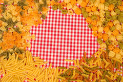 Pasta background on table Royalty Free Stock Images