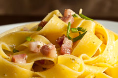 Pasta with bacon Royalty Free Stock Images